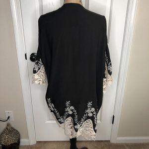 Cejon Jackets & Coats - Cejon Lace Trim Black Ivory Kimono NEW!